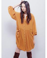 Free People | Brown Womens Emery Long Sleeve Mini | Lyst