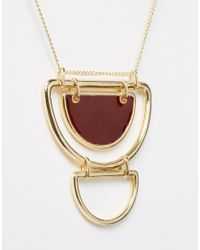 ASOS | Brown 70s Clean Enamel Semi Circle Necklace | Lyst