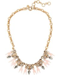 J.Crew - Pink Ornate Gold-Tone Crystal Necklace - Lyst