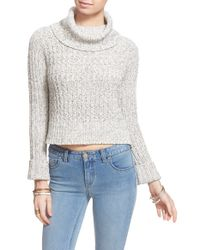 Free People - White 'twisted Cable' Turtleneck Sweater - Lyst