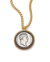 Kenneth Jay Lane | Metallic Framed Coin Long Pendant Necklace | Lyst