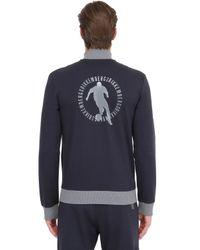 Bikkembergs - Blue Zip-up Stretch Cotton Sweatshirt - Lyst