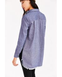 BDG - Blue Meyer Shredded Flannel Shirt - Lyst