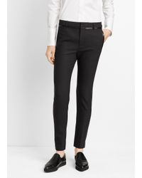 Vince | Gray Wool Trouser With Faux Leather Contrast | Lyst