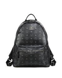 MCM - Black Stark Coated Canvas Monogram Backpack for Men - Lyst