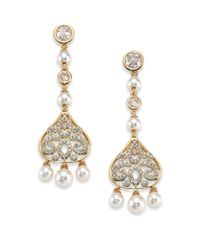 Adriana Orsini | Metallic Garden Gate Pavé Crystal Filigree Long Drop Earrings | Lyst