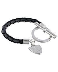 Lauren by Ralph Lauren | Metallic Logo Charm Item 8 Braided Leather with Large Ring and Toggle Bracelet | Lyst