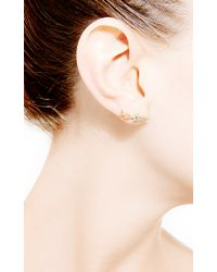Janis Savitt - Metallic Geometric Diamond Earrings - Lyst