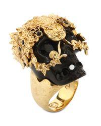 Alexander McQueen - Black Skull Owlet Ring - Lyst