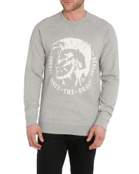 DIESEL | Gray S-orestes Mohican Graphic Sweatshirt for Men | Lyst