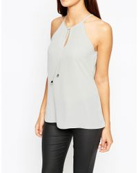 ASOS - Gray High Neck Cami With Keyhole & Tie Front - Grey - Lyst