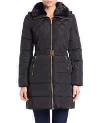 MICHAEL Michael Kors | Black Convertible Faux Fur-collared Belted Coat | Lyst