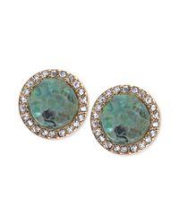 RACHEL Rachel Roy | Metallic Goldtone Green Drusy and Pave Crystal Stud Earrings | Lyst