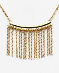 "Rebecca Minkoff - Metallic Fringe Pendant Necklace, 16"" - Lyst"