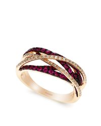 Effy | Purple Rosa Diamond And Ruby 14k Rose Gold Ring | Lyst