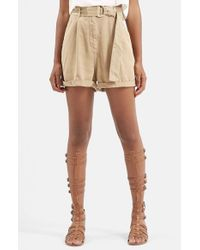 TOPSHOP | Natural Casual D-ring Shorts | Lyst