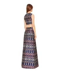 Tory Burch | Blue Metallic Jacquard Cut-out Gown | Lyst