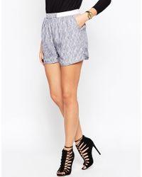 Just Female - Blue Grape Short With White Brush Print - Lyst