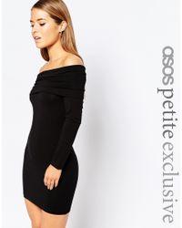 ASOS | Black Bodycon Dress With Deep Bardot | Lyst