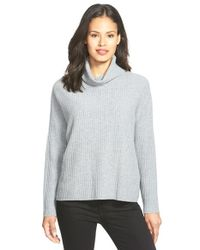 Eileen Fisher - Gray Boxy Cashmere Turtleneck Sweater - Lyst