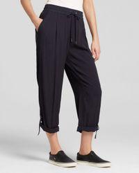 DKNY - Blue Pure Roll Cuff Crepe Drawstring Pants - Lyst
