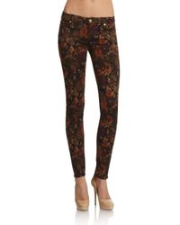 7 For All Mankind | Brown Floral-print Skinny Jeans | Lyst