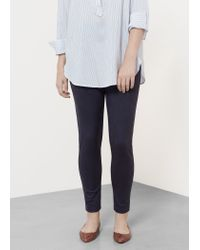 Violeta by Mango - Blue Faux Suede Leggings - Lyst