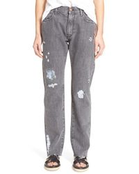 Aries - Gray 'simon' Foiled Destructed Jeans - Lyst