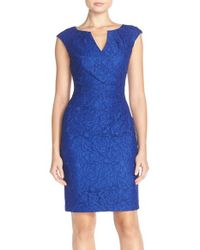 Adrianna Papell - Blue Lace Sheath Dress - Lyst