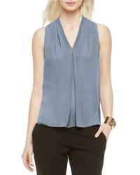Vince Camuto - Blue Pleated V-neck Blouse - Lyst