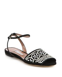 Tabitha Simmons - Black Beaded Flat Suede Sandals - Lyst