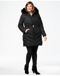 DKNY - Black Plus Size Faux-fur-trim Hooded Puffer Coat - Lyst