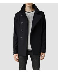 AllSaints | Black Wade Pea Coat for Men | Lyst