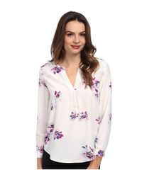 Joie | White Deon B Long-sleeve Silk Floral Blouse | Lyst