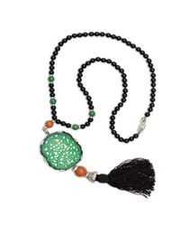 Kenneth Jay Lane | Multicolor Carved Jade Tassle Bead Necklace | Lyst