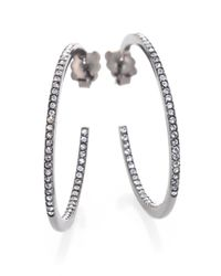 Adriana Orsini | Metallic PavÉ Crystal Gunmetal Inside-Outside Hoop Earrings/1.25 | Lyst