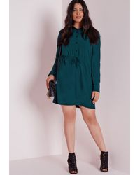 4996b63bfc6 Lyst - Missguided Plus Size Drawstring Waist Shirt Dress Teal in Blue