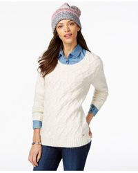 Tommy Hilfiger | White Cable-knit Sweater & Pom-pom Hat Gift Set | Lyst