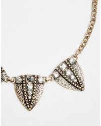 Oasis | Metallic Pave Arrow Head Collar Necklace | Lyst