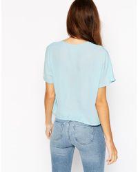 ASOS - Blue Cropped V Neck Kimono Blouse - Lyst