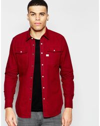 df27b82274aa G-Star RAW Denim Landoh Slim Fit Shirt in Red for Men - Lyst
