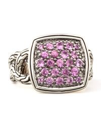 John Hardy | Metallic Classic Chain Small Cushion Woven Ring Pink Sapphire for Men | Lyst