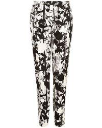 TOPSHOP   Black Pleat Flower Cigarette Trousers   Lyst
