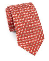 Ferragamo - Red Rooster Print Silk Tie for Men - Lyst