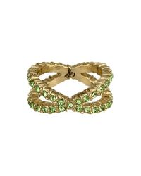 Sam Edelman | Metallic Crystal Crossover Ring - Peridot | Lyst