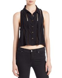 Free People | Black Toosaloosa Open-stitch Slub Top | Lyst