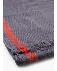 Mango - Blue Striped Monochrome Scarf for Men - Lyst