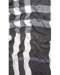 Burberry | Gray Mega Check Silk Scarf | Lyst