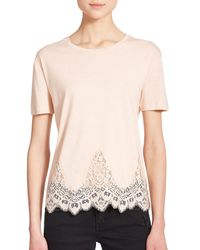 The Kooples - Natural Lace-trim Jersey Tee - Lyst