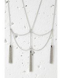Forever 21 | Metallic Drapey Chain Tassel Necklace | Lyst